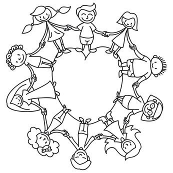 Kinderkreis, Herz, Ausmalbild